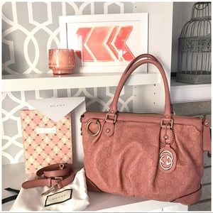 Gucci Pink Sukey Guccissima 2 Way Leather Bag